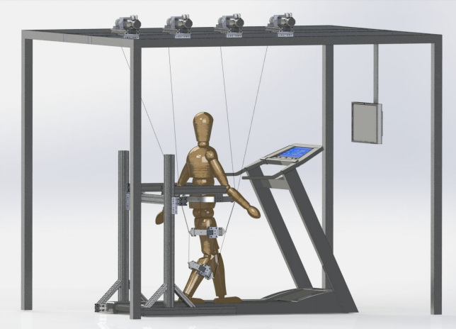 CAD model of the C-ALEX device on a mannequin