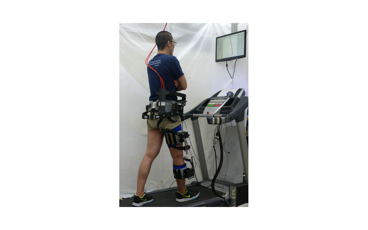 A subject wearing C-Alex during gait training