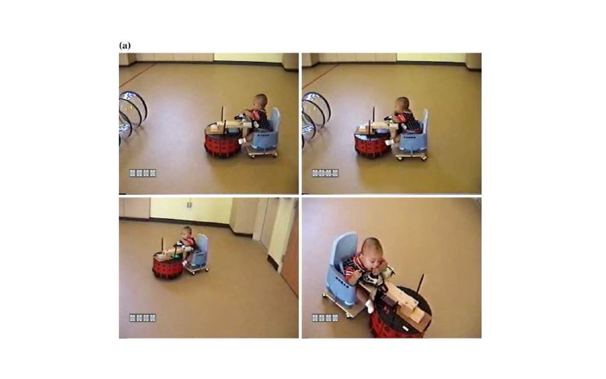 Video screen captures from infant subjects driving a mobile robot