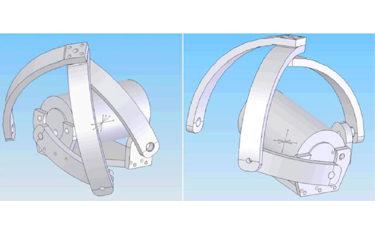 Two views of the solidworks model for the spherical mechanism flapping device